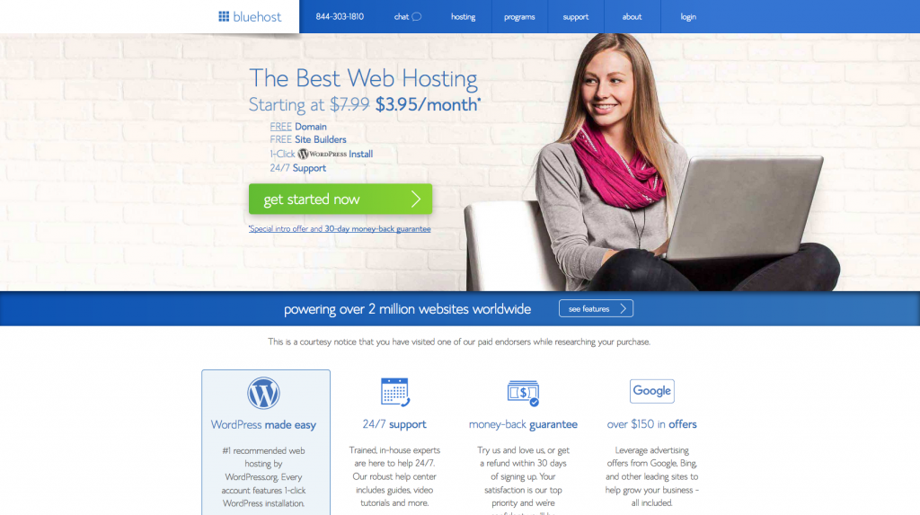 How to Start a Blog Bluehost Homepage