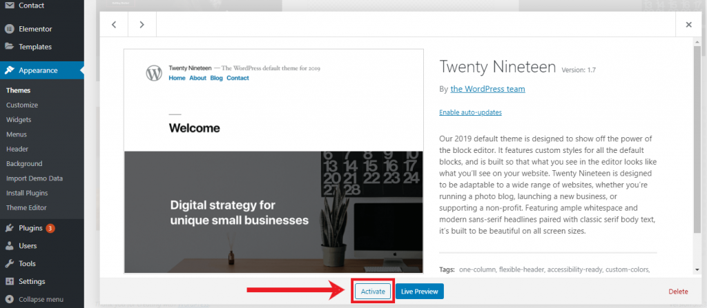 How to Start a Blog Activate Theme