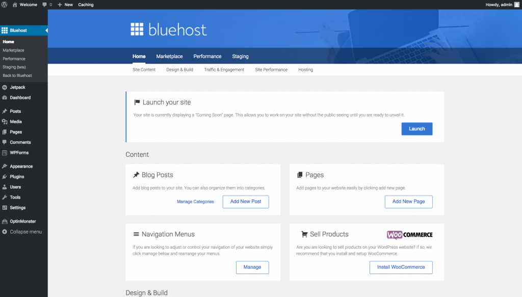 How to Start a Blog Bluehost Dashboard