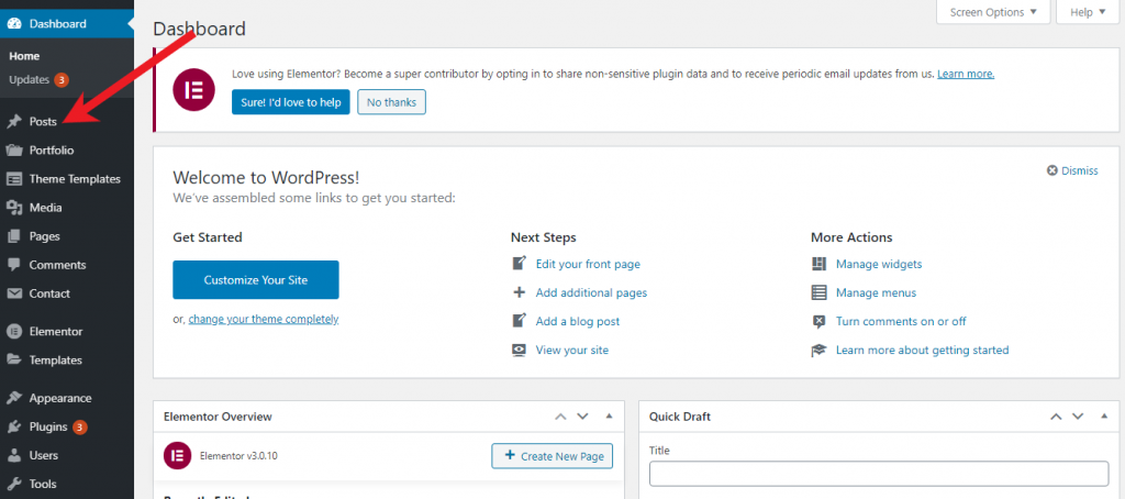 How to Start a Blog Add Post
