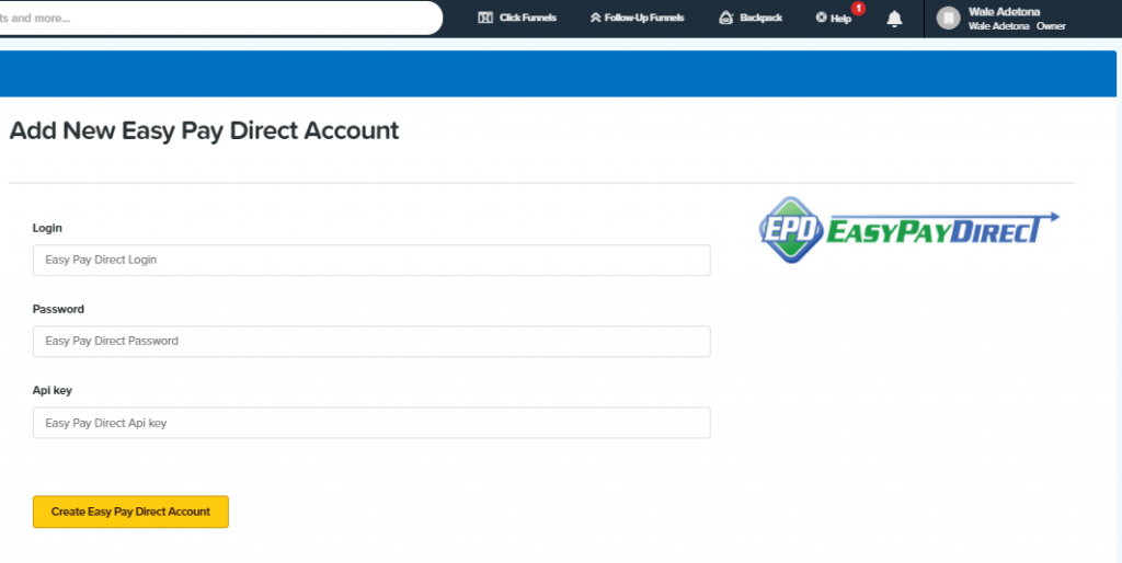 ClickFunnels EasyPayDirect Integration