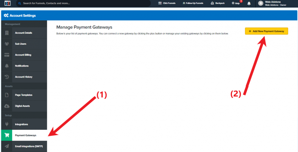 Add Payment Gateways
